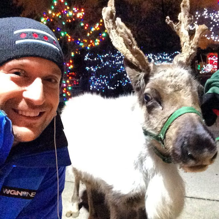With Bunny the Reindeer at Brookfield Zoo. Holiday Magic runs through December.
