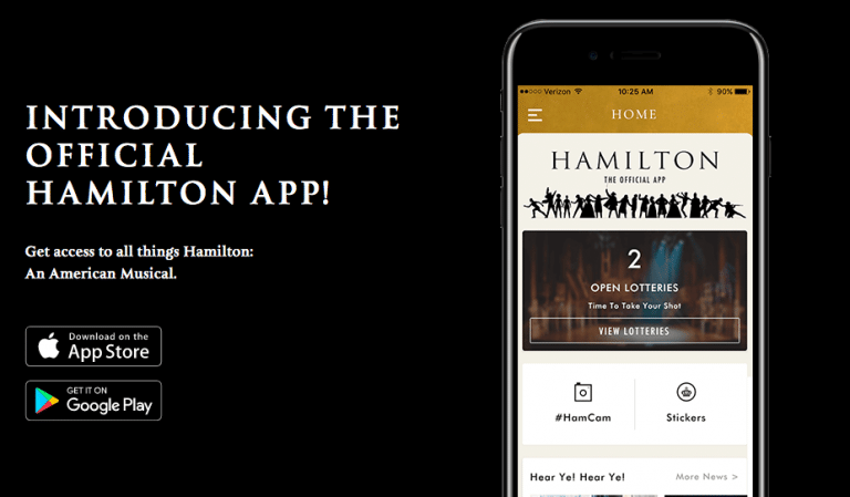 """New """"Hamilton"""" app lets you enter lottery for $10 tickets"""
