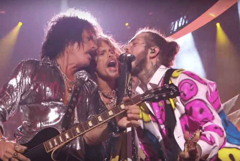 Post Malone and Aerosmith perform together at the MTV VMAs